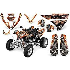 Amazon Com Amr Racing Atv Graphics Kit Sticker Decal Compatible With Polaris Predator 500 2003 2007 Mad Hatter Silver Orange Automotive