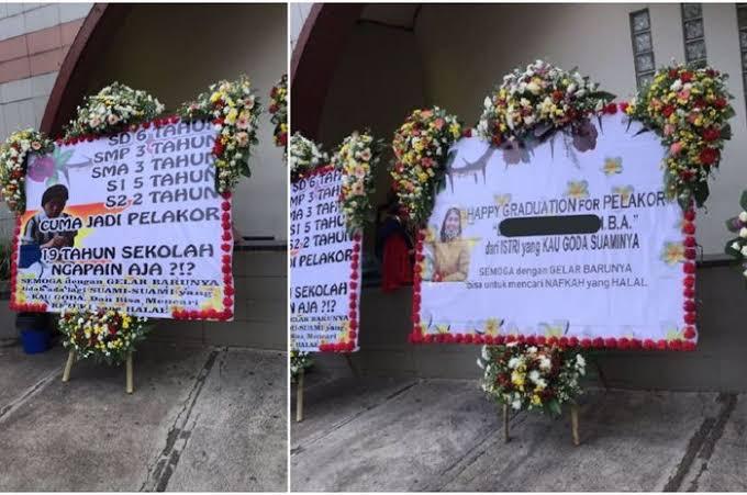 """Hasil gambar untuk Ganggu Suami Orang, Mahasiswi S2 Dapat Karangan Bunga Dari Istri Sah: """"Happy Graduation for Pelakor, dari Istri yang Kau Goda Suaminya"""""""""""