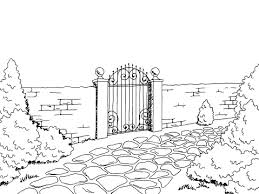 Wall Fence Gate Landscape Graphic Black White Sketch Illustration Vector Stock Illustration Download Image Now Istock