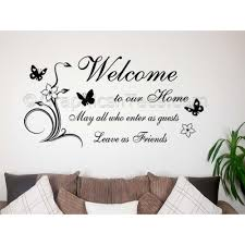 Family Wall Sticker Welcome To Our Home Leave As Friends Home Wall Sticker With Flowers And Butterflies