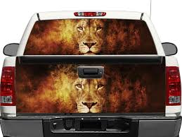 Product Lion In Flame Rear Window Or Tailgate Decal Sticker Pick Up Truck Suv Car