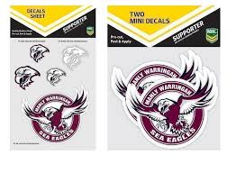 Set Of 2 Manly Sea Eagles Nrl Logo Pack Of 5 Decal Stickers Sheet Itag Pack Of 2 Mini Decals Stickers Itag Guy Stuff