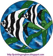 free stained glass pattern tropicalfish