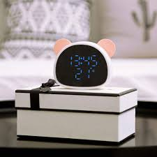 For Home Kids Bedroom Living Room Teepao Led Desk Alarm Clock With Snooze Function And Time Temperature Mirror Display Screen Voice Touch Sensor Cute Panda Digital Alarm Clock