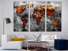 Copper Gray World Map Canvas Print Wall Art 3 Panel Split Triptych Abs Canvas Quest