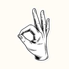 Okay Hand Sign Language Sticker Vector Royalty Free Vector 2392422