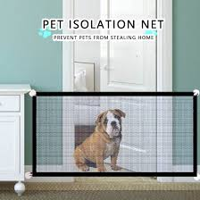 Dog Gate Ingenious Mesh Pet Barrier Fence For Indoor Outdoor Safe Portable Folding Pet Dog Gate Safety Enclosure Pet Supplies Aliexpress