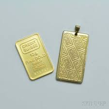 10g credit suisse gold ingot and a
