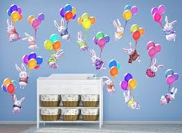 Bunnies And Balloons Wall Decal Set