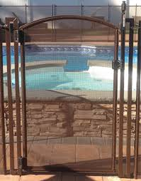 2 5 Ft W X 5 Ft H Pool Fence Diy Gate In Brown With Self Closing Self Latching Hardware Arch Top Walmart Com Walmart Com