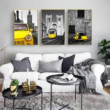 Vintage Kids Bedroom Decor Paintings Yellow Car Building Landscape Canvas Art Wall Picture For Living Room Posters And Prints Painting Calligraphy Aliexpress