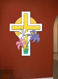 Easter Cross Wall Decal Cutout