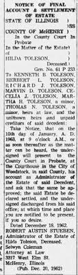 Notice of Final Account & Settlement of Estate for Hilda Peterson (Toleson)  - Newspapers.com