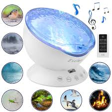 Sound Machine With Soothing Nature Noise And Relaxing Light Show Color Changing Wave Light Effects For Kids Adults Bedroom Living Room Exelme Night Light Projector Ocean Wave Night Lights