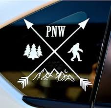 Amazon Com Byzee Pnw Bigfoot Decal White Mountain Tree Sticker Car Laptop Graphic Clothing