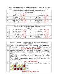 simultaneous equations graded