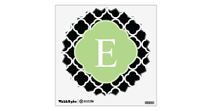 Green Black Quatrefoil Monogram Wall Sticker Zazzle Com