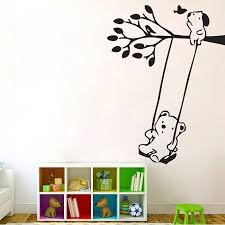 Bears On Tree Swing Vinyl Wall Art Decal
