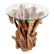 round reclaimed teak root wooden glass