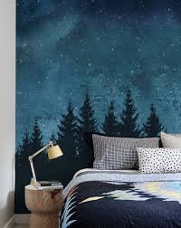 Forest Trees Night Scene Mural Wall Art Wallpaper Peel And Stick Simple Shapes Wall Art Wallpaper Bedroom Murals Forest Mural