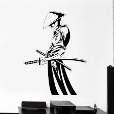 Art Decor Wall Vinyl Decal Samurai With Swords Japan Japanese Vinyl Home Decor Wall Sticker Quote Poster Mural B733 Wall Stickers Aliexpress