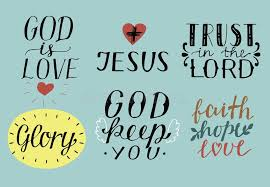 set of hand lettering christian quotes symbols god is love