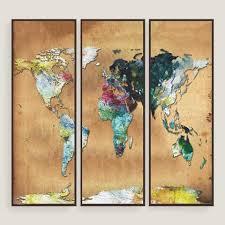 Watercolor Map Wall Art Set Of Three World Market
