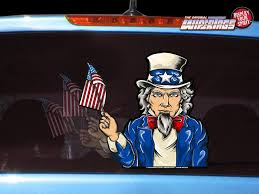 Uncle Sam Waving Usa Flag Wipertags Decal For Rear Vehicle Wiper Blades Wipertags