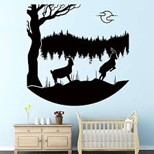 Amazon Com Vodoe Forest Wall Decals Rams Wall Decal Nature Tree Plant Reflection Grass Goat Jump Wild Animal Stickers Suitable For Family Living Room Vinyl Art Home Decor Black 20 8 X 20 8 Inches Home