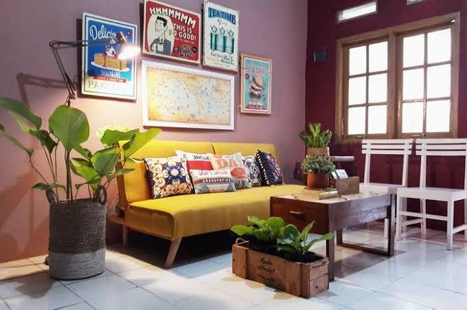 Ruang tamu gaya retro