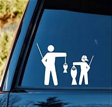 Amazon Com Bluegrass Decals Father And Son In Baseball Cap Funny Fishing Decal Sticker F1089 Automotive