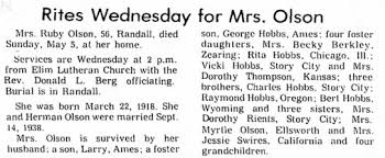 Ruby Olson Obit Ames Tribune May 6, 1974 - Newspapers.com