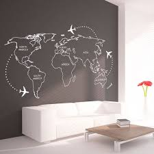 World Map Outlines Wall Decal Continents Decal Large Etsy Wall Stickers World Creative Wall Decor World Map Outline
