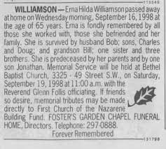 Obituary for Erna Hilda WILLIAMSON (Aged 65) - Newspapers.com