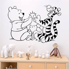 Cartoon Winnie The Pooh And Tigger Wall Stickers Bedroom Home Decor Disney Wall Decals Vinyl Mural Art Diy Posters Wall Stickers Aliexpress