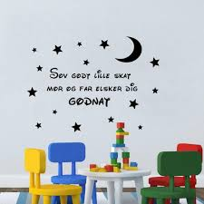 Danish Quotes Wall Art For Kids Rooms Decoration Wall Sticker Sleep Well Sweetheart Mom And Dad Love You Goodnight Moon Star Removable Decals For Walls Removable Kids Wall Decals From Fst1688 8 61