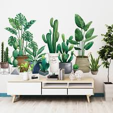 3d green plant wall sticker for living