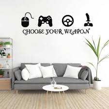 Gamer Vinyl Wall Stickers Video Game Play Room Joystick E Sports Wall Decals Decor Wall Stickers Aliexpress