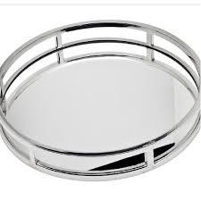 art deco round mirror tray large