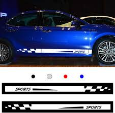 Amazon Com Autotoper Car Side Door Skirt Strip Sticker Decals For Toyota Camry White Vinyl Car Decal Accessories Styling 1 Pair L R Automotive