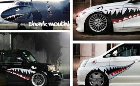 Amazon Com Ijdmtoy Complete Set 60 Inch Full Size Shark Mouth W Eye Die Cut Vinyl Decals Compatible With Car Truck Suv Left Right Automotive