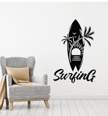 Vinyl Wall Decal Water Sports Surf Surfing Board Palm Beach Sun Sticke Wallstickers4you
