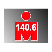 Amazon Com Red Mdot Ironman Triathlon 140 6 Vinyl Decal Bumper Sticker 4 X5 Automotive