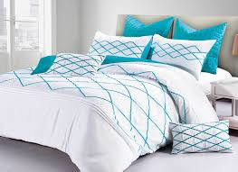 Adela Quilt Cover White Turquoise Blue diamond-ribbon doona cover set  /options | eBay