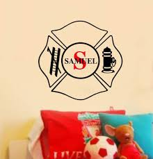 Personalized Name Wall Decal Boy Nursery Vinyl Monogram Fire Fighter Badge Fireman Small Medium Large Size Decals