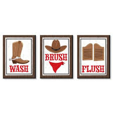 Western Hoedown Wild West Cowboy Wall Art Country Decorations And Kids Room Decor Gift Ideas 7 5 X 10 Inches Set Of 3 Prints Walmart Com Walmart Com