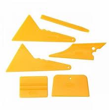 6pcs Car Window Tinting Tool Kit Glass Vinyl Sticker Installation Tint Scraper Set Yellow