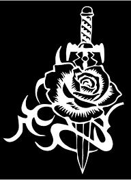 White Vinyl Decal Rose Dagger Roses Flower Sword Fun Sticker Truck Unbrandedgeneric Rose And Dagger Initial Tattoo Fun Stickers