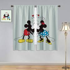 Amazon Com Kids Room Window Curtain Mickey Minnie Mouse Curtains Mickey Minnie Mouse Curtains Rod Pocket For Bedroom Living Room 42x45 Inch Home Kitchen