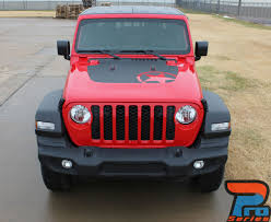Omega Hood Jeep Gladiator Hood Decals With Star Vinyl Graphics Stripe Kit For 2020 2021